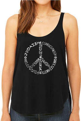 LOS ANGELES POP ART Los Angeles Pop Art Women's Premium Word Art Flowy Tank Top - Different Faiths peace sign