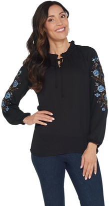 Belle By Kim Gravel Belle by Kim Gravel Floral Embroidered Blouse