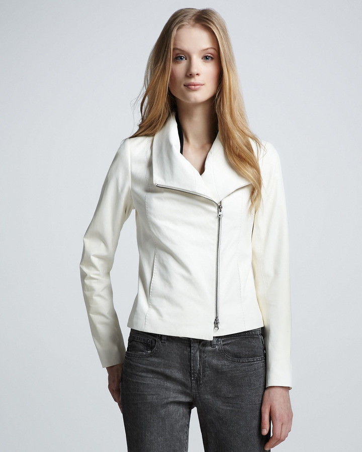 Vince Leather Shawl-Collar Jacket, White