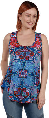 24/7 Comfort Apparel 24Seven Comfort Apparel Francesca Blue Sleeveless Tunic Top