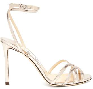 Jimmy Choo Mimi 100 Wrap Around Leather Sandals - Womens - Gold