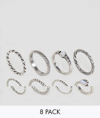 Asos Pack of 8 Woven Band and Stone Rings