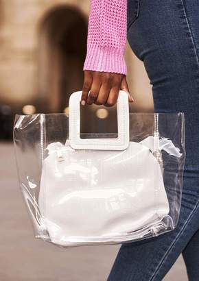 d8d00230f81 Missy Empire Missyempire Maisie White Perspex Faux Leather Square Bag