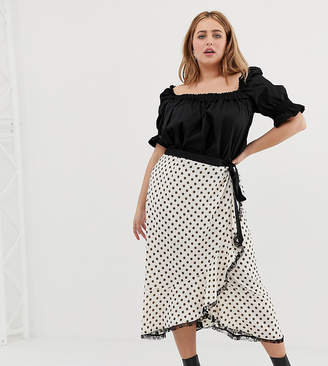 fc86f9c1da Glamorous Curve wrap front midi skirt with lace trim in floral spot print