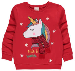 George Red Sparkly Unicorn Christmas Sweatshirt