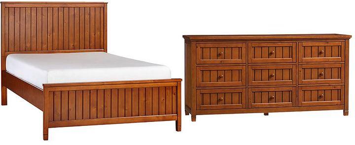 Beadboard Basic Bed + 9-Drawer Dresser Set, Chesnut, Queen