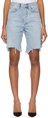 A Gold E Agolde Blue Denim 90s Mid Rise Loose Shorts