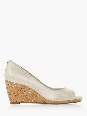 Dune Caydence Peep Toe Cork Wedge Court Shoes, Silver Canvas