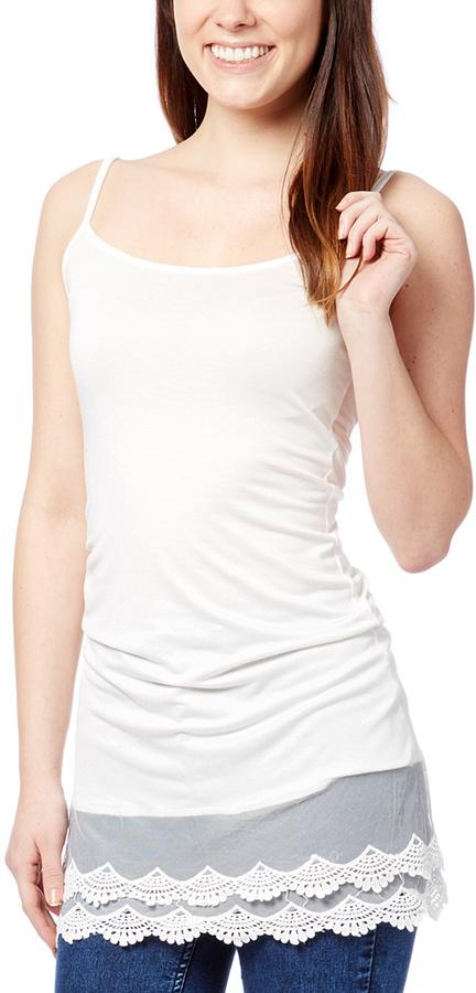 White Lace-Hem Layering Camisole