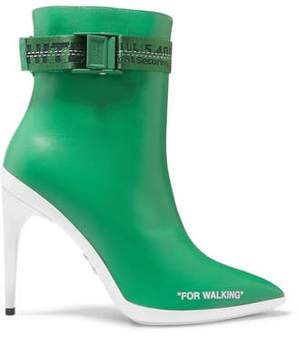 Off-White For Walking Logo-jacquard Printed Leather Ankle Boots - Green