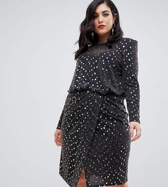 Flounce London Plus midi dress with statement shoulder in gold metallic
