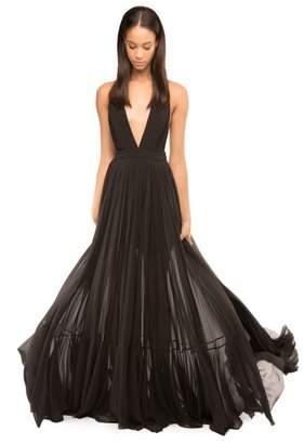 Pleated Silk Chiffon Fiona Dress