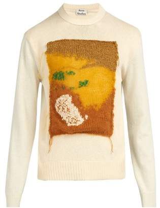 Acne Studios Knit Applique Contrast Panel Wool Sweater - Mens - White