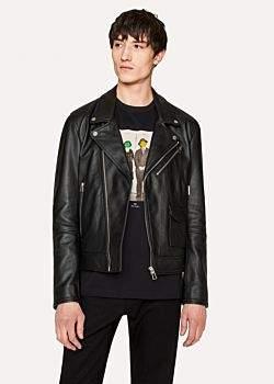 Paul Smith Men's Heavy Grained-Leather Asymmetric-Zip Biker Jacket