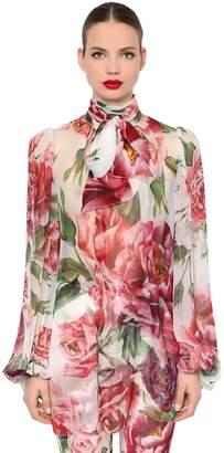 Dolce & Gabbana Floral Silk Chiffon Blouse W/ Bow Collar
