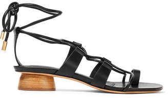 Salvatore Ferragamo Syrakos Lace-up Leather Sandals - Black