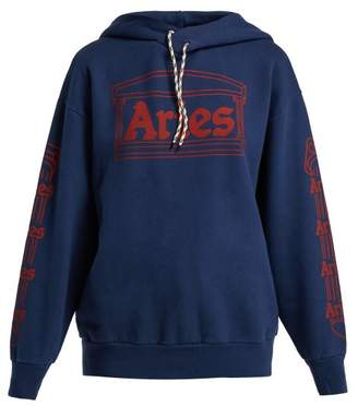 Aries Logo Print Hooded Cotton Sweatshirt - Womens - Navy