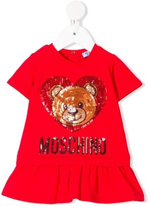 Moschino Kids sequin teddy logo dress