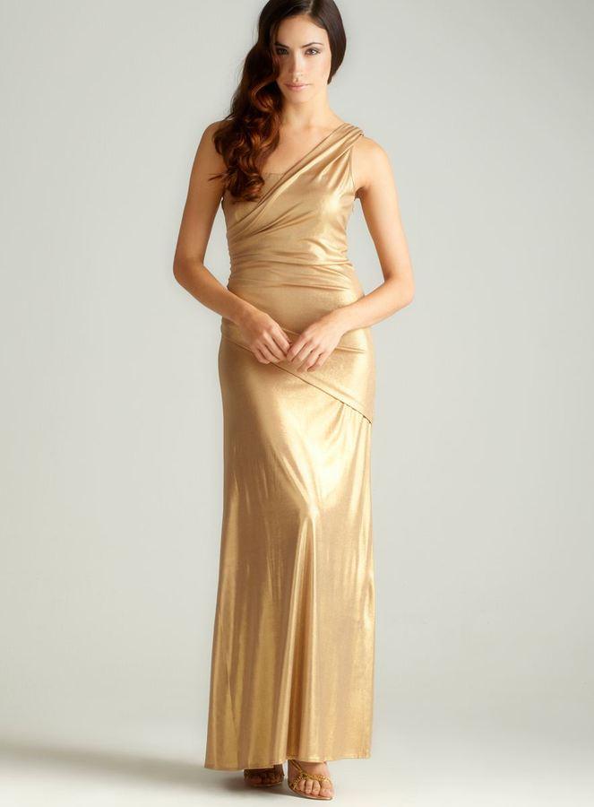 Night Way Nightway One Shoulder Metallic Gown