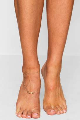 boohoo Double Layer Heart Charm Anklet