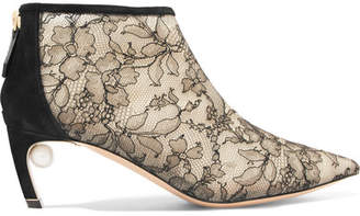 Nicholas Kirkwood Mira Faux Pearl-embellished Lace And Suede Ankle Boots - Black