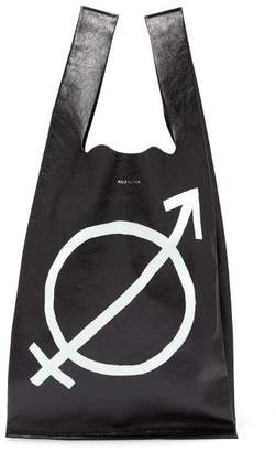 Balenciaga Supermarket Shopper All Gender Leather Tote - Mens - Black