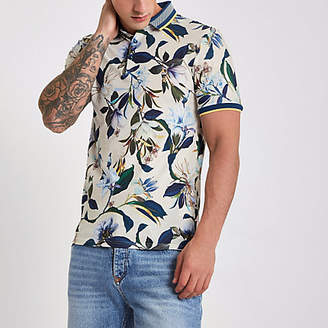 River Island Stone muscle fit floral polo shirt