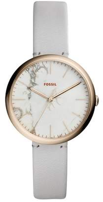 Fossil Women's Annette Three-Hand Leather Strap Watch, 36mm