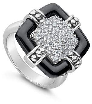 Lagos Sterling Silver Black Caviar Collection Diamond & Black Ceramic Large Square Ring