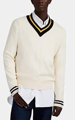 Rag & Bone Men's Stockton Embroidered Cotton-Blend V-Neck Sweater - Ivorybone