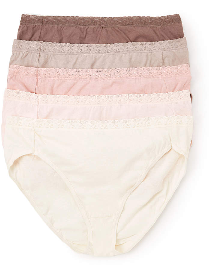 White & Pink Cotton Lace-Accent High-Waist Brief Set - Plus