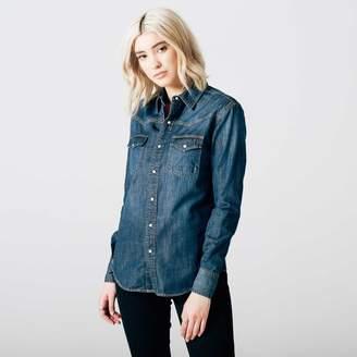DSTLD Womens Denim Snap Button Down Shirt in Dark Vintage