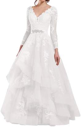 Holygift Women's 2018 Long Sleeves Double V Neck Ruffles Lace Brides Gown Wedding Dress