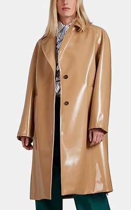 PLAN C Women's Faux-Leather Long Coat - Brown