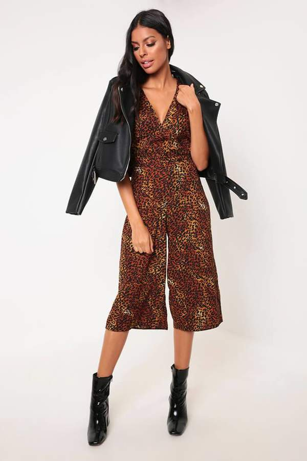 Isawitfirst Leopard Print Wrap Front Cropped Jumpsuit