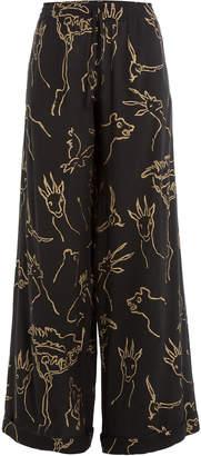 Valentino Printed Silk Wide Leg Pants