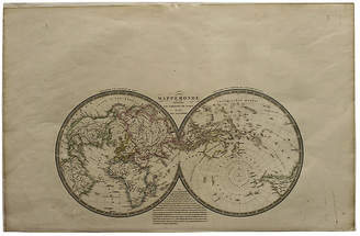 One Kings Lane Vintage World Map by J. Brue
