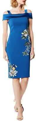 Karen Millen Embroidered Cold-Shoulder Sheath Dress