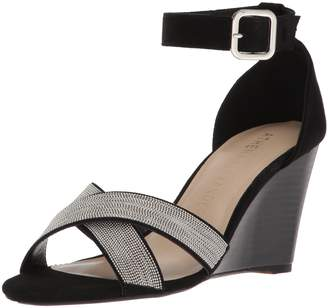 Athena Alexander Women's Zorra Wedge Sandal Black Suede 7.5 M US