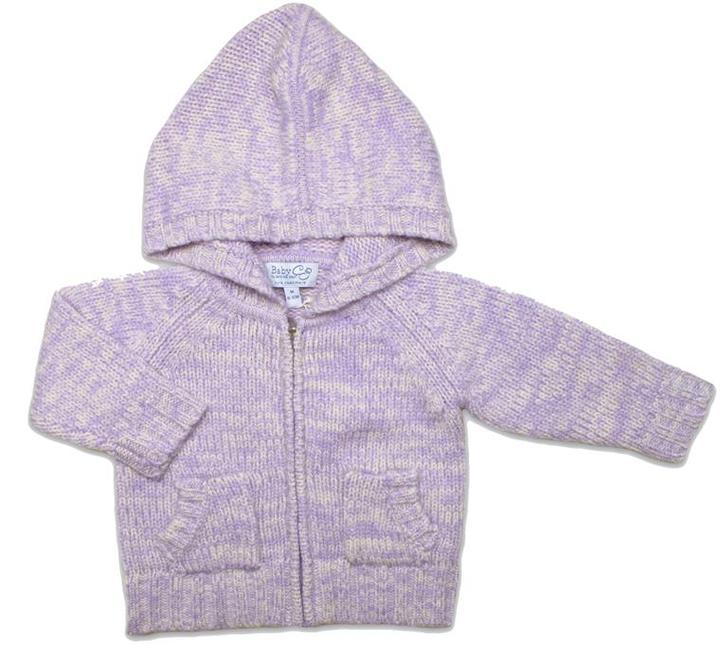 Baby CZ Cashmere Chunky Hoodie in Lavender & Cream