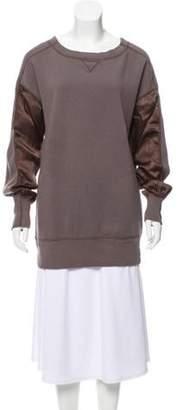 Sacai Luck Contrast Sleeve Bateau Neck Sweater Grey Luck Contrast Sleeve Bateau Neck Sweater