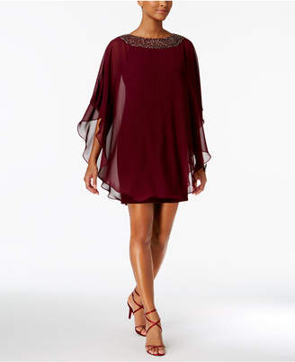 Xscape Evenings Embellished Chiffon Cape-Overlay Dress, Petite Sizes