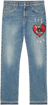 Denim straight pant with embroidery $1,150 thestylecure.com