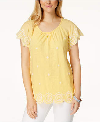 Charter Club Cotton Embroidered Top, Created for Macy's