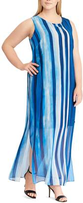 Chaps Plus Size Georgette Overlay Full-Length Dress