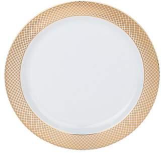 "Kaya Collection - Disposable White with Rose Gold Diamond Rim Plastic Round 7.5"" Salad/Dessert Plates (120 Plates)"