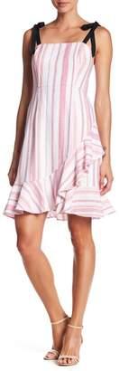Donna Morgan Linen Blend Ruffle Hem Dress