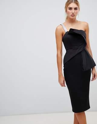 Asos DESIGN sparkle strap structured origami bodycon midi dress