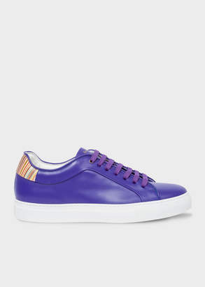 Paul Smith Men's Cobalt Blue Leather 'Basso' Trainers With Signature Stripe Trims