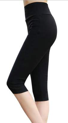Etecredpow Women Solid Stretch Plus Size High Waist Skinny Tight Capri Leggings 3X-Large